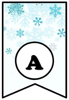 'Winter Art Gallery', Winter Snow Art Bulletin Board Sayings Pennant Letters