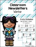 """""""Winter"""" Classroom Newsletter Templates"""