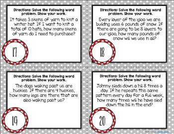 {Winter Themed} Multiplication Word Problem Task Cards