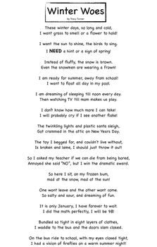 """Winter Woes"" Poem, comprehension assessment, writing prompts, illustration page"