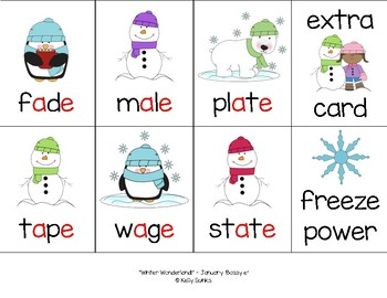 """Winter Wonderland!"" ~ A Winter-Themed 'BOSSY E' Phonics Game (CVCe, Silent e)"