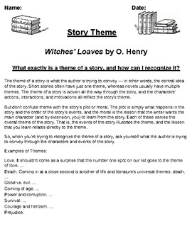 """""""Witches' Loaves"""" by O. Henry Worksheet"""