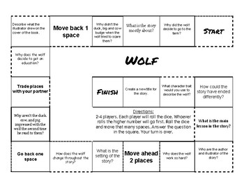 """""""Wolf!"""" By Becky Bloom Comprehension Game Board"""