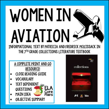 """""""Women in Aviation""""  by Patricia and Fredrick McKissack~ Common Core Activities"""