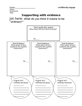 """Wonder"" Intro to Using Text Evidence"