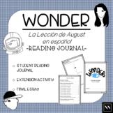 """Wonder"", ""La lección de August"" Student Reading Log and Activities"