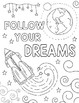 """""""Wonder"""" Outer Space Coloring Pages (KINDNESS themed)"""