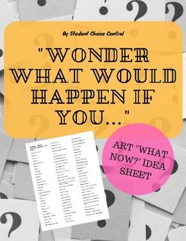 """Wonder What Would Happen If You..."" Art Ideas Sheet"