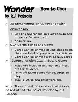 """""""Wonder"""" by R.J. Palacio Comprehension Questions and Board Game"""