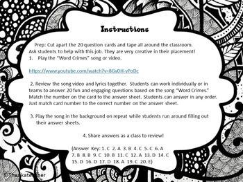 """""""Word Crimes"""" Song Fun Grammar Activity for Grades 7-12"""