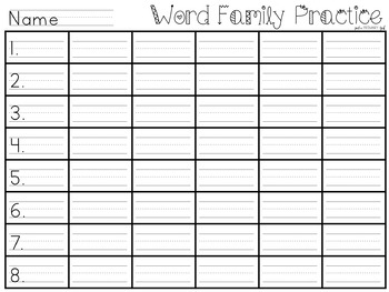 ~*Word Family Task Card Template