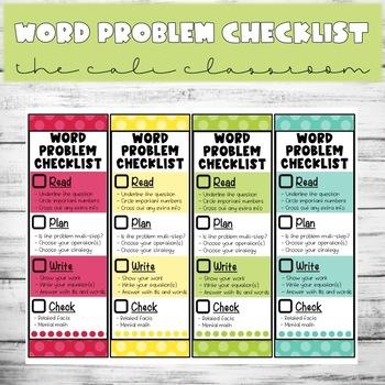☀️ Word Problem Checklist (Editable)