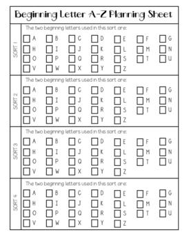 {Word Work} Beginning Letter A - Z Sorting Mat