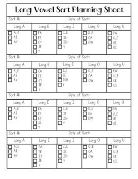 {Word Work} Long Vowel Sorting Mat Activity Packet