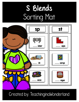 {Word Work} S Blend Sorting Mat Activity Packet