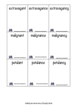 Words Their Way Playing Cards for adding –ant, -ance or -ancy