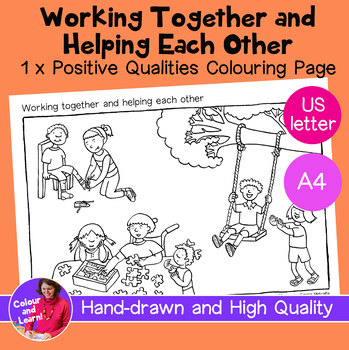 """""""Working Together + Helping Each Other"""" Coloring Sheet/Colouring Page"""
