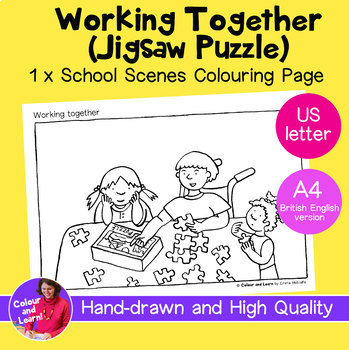 """Working Together"" Coloring Sheet/Colouring Page (Elementary/Primary)"