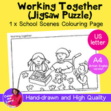 """""""Working Together"""" Coloring Sheet/Colouring Page (Elementa"""