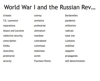 """World War I and the Russian Revolution"" Vocab Bingo for a World History Course"