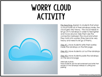 """Worry Cloud"" Activity for Elementary Students"