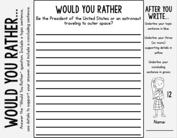 """Would You Rather"" Writing Prompts SECOND EDITION: Grades 3-6"