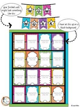 """Wow Work""  Display Wall - L3 - Summer Spots Classroom Decor"