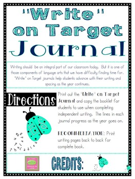 """""""Write"""" on Target Journal- Mid-Year 1st Grade"""