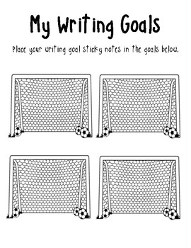 |Writer's Workshop| Writing Goals with Soccer Nets for Student Writing Folders