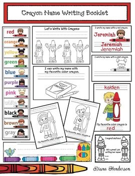 """Writing With Crayons!"" Name Writing Color Booklet & Activities"
