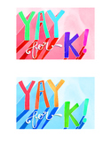 """YAY FOR K!"" Back-to-School Kindergarten Postcard"