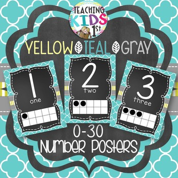 {YELLOW, TEAL, GRAY}  0-30 Number Posters with tens frames