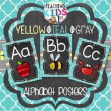 {YELLOW, TEAL, GRAY} Alphabet Posters with pictures