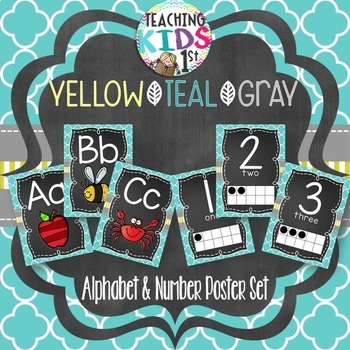 {YELLOW, TEAL, GRAY} Alphabet and Number Posters Bundle