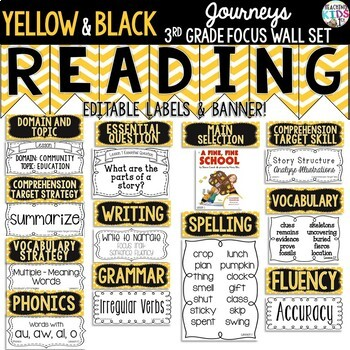 Yellow Black Journeys 3rd Grade Reading Focus Wall Set By