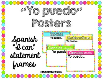 """Yo puedo"" Posters - Spanish ""I can"" statement frames"
