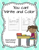 """""""You Can!"""" Write and Color"""