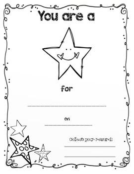 """You're a Star"" Certificate"