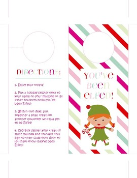 """You've Been Elfed!"" printable door hanger (holiday staff morale booster)"
