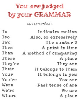 """You are judged by your grammar"" Poster"