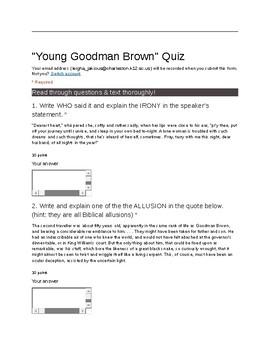"Hawthorne's ""Young Goodman Brown"" Quiz"