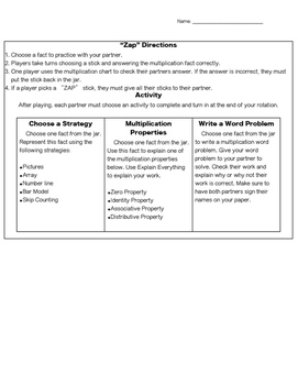 """""""ZAP"""" Multiplication Game and Differentiated Activities"""