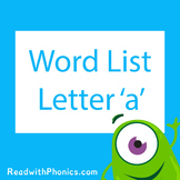 'a' CVC Phonics Word List | Phonics Resource