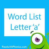 'a' CVC Phonics Word List | Phonics Resource
