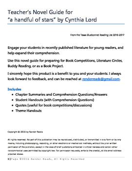 """Novel Guide for """"a handful of stars"""" by Cynthia Lord"""