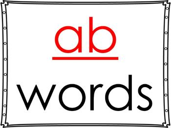 word family powerpoint: -ab