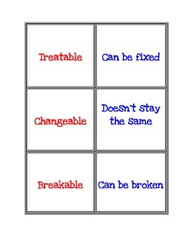 -able suffix matching cards