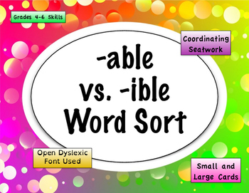 -able vs -ible Word Sort {Differentiated} + Seat Work