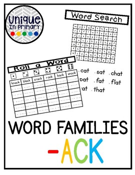-ack Word Family Pack NO PREP!