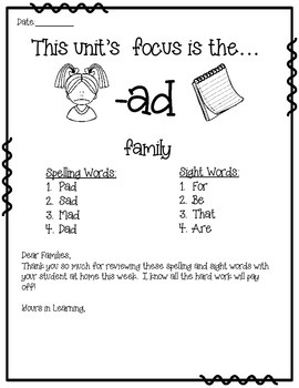 -ad WORD FAMILY PHONICS AND SIGHT WORD WORK EARLY LITERACY DECODING